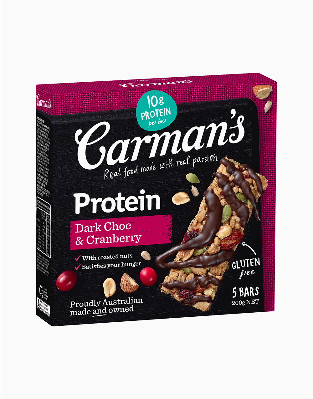 Dark Choco and Cranberry Protein Bar (40g x 5pcs) by Carman's