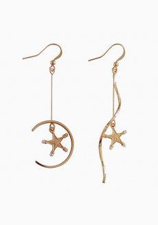Delphine Moon and Star Drop Earrings by Dusty Cloud