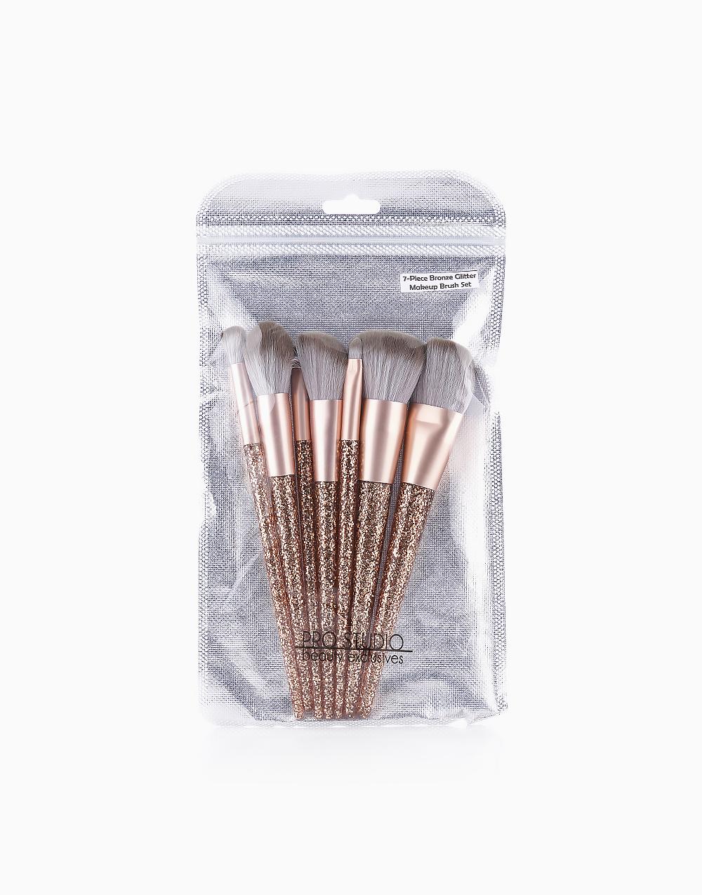 7-Piece Bronze Glitter Makeup Brush Set by PRO STUDIO Beauty Exclusives