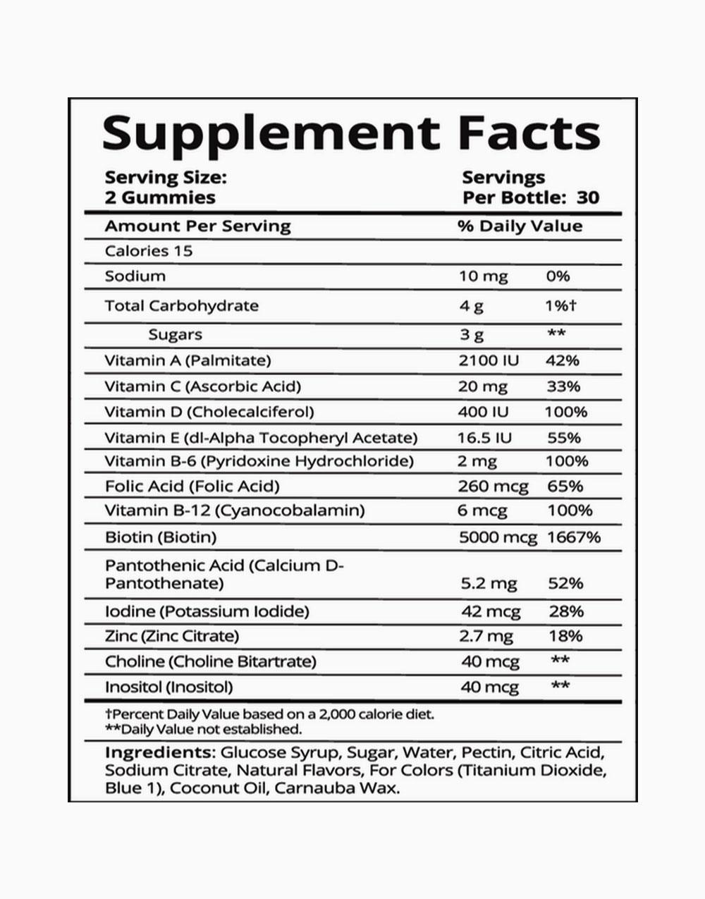 Hair Vitamins (60 Gummies) by SugarBearHair