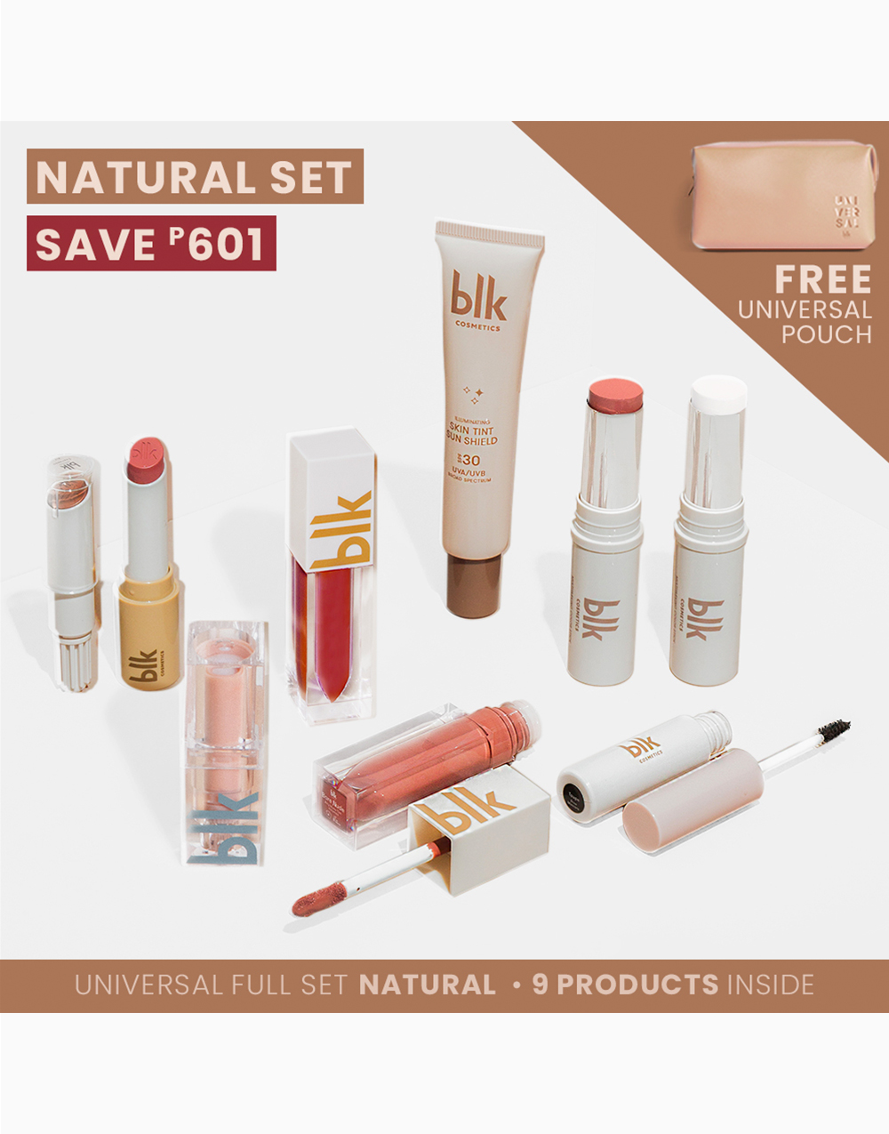 Full Set Natural with Pouch by BLK Cosmetics