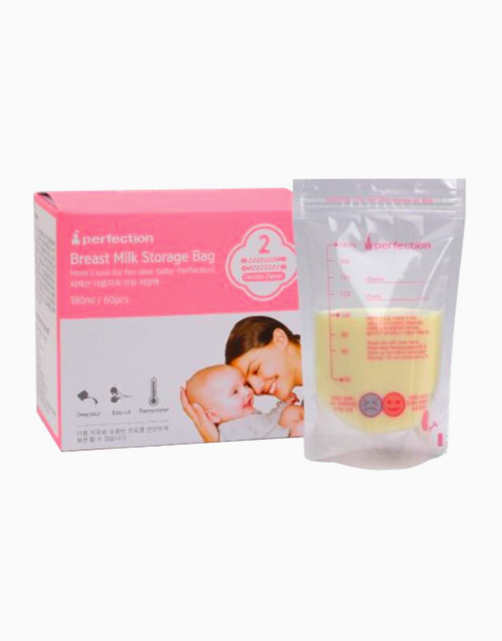 Double Zipper Breast Milk Bag with Temp Detection 180ml / 60 Pcs. (Breast Milk Storage Bag) by Perfection Baby
