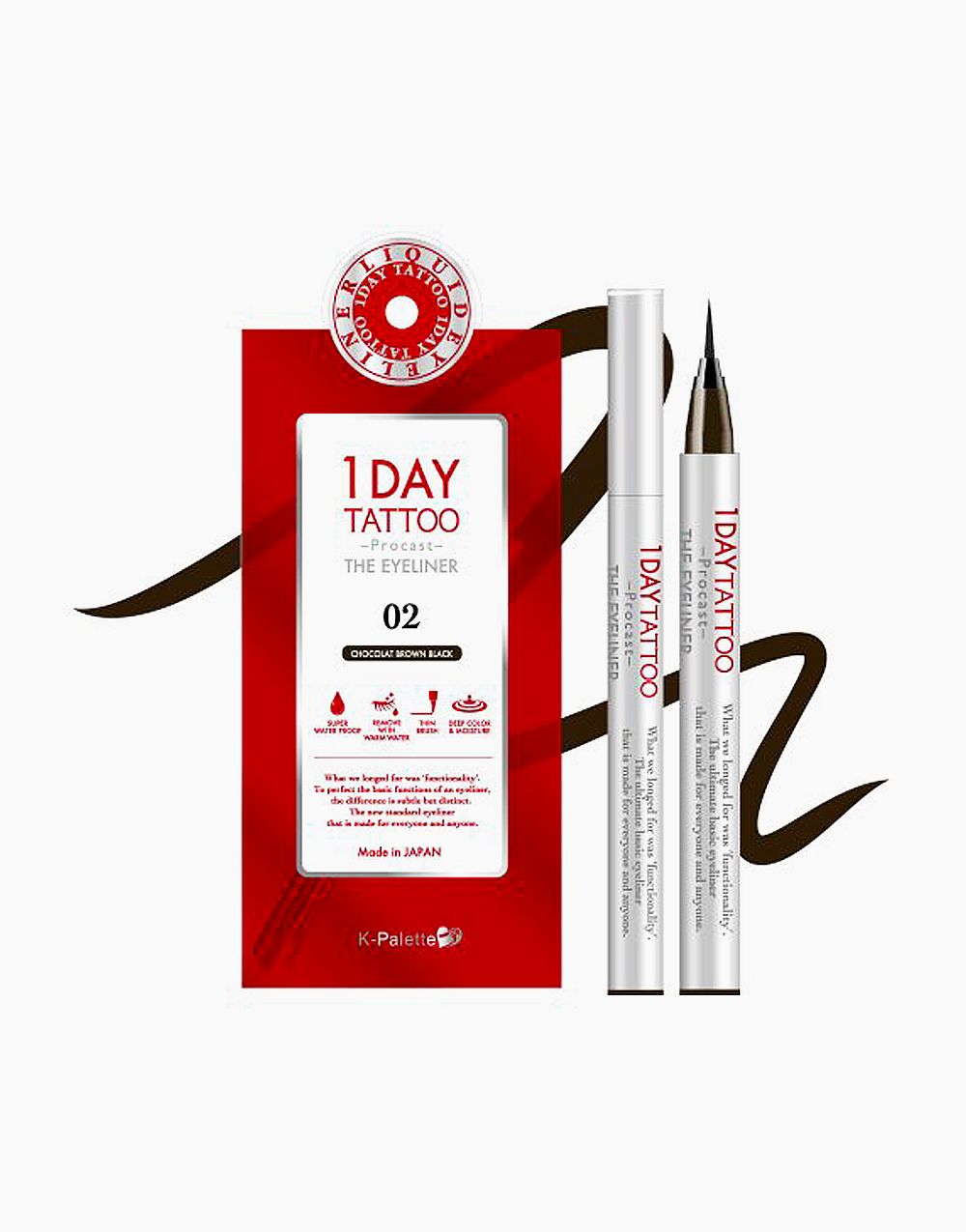 1Day Tattoo Procast the Eyeliner by K-Palette | Chocolate Brown Black 02