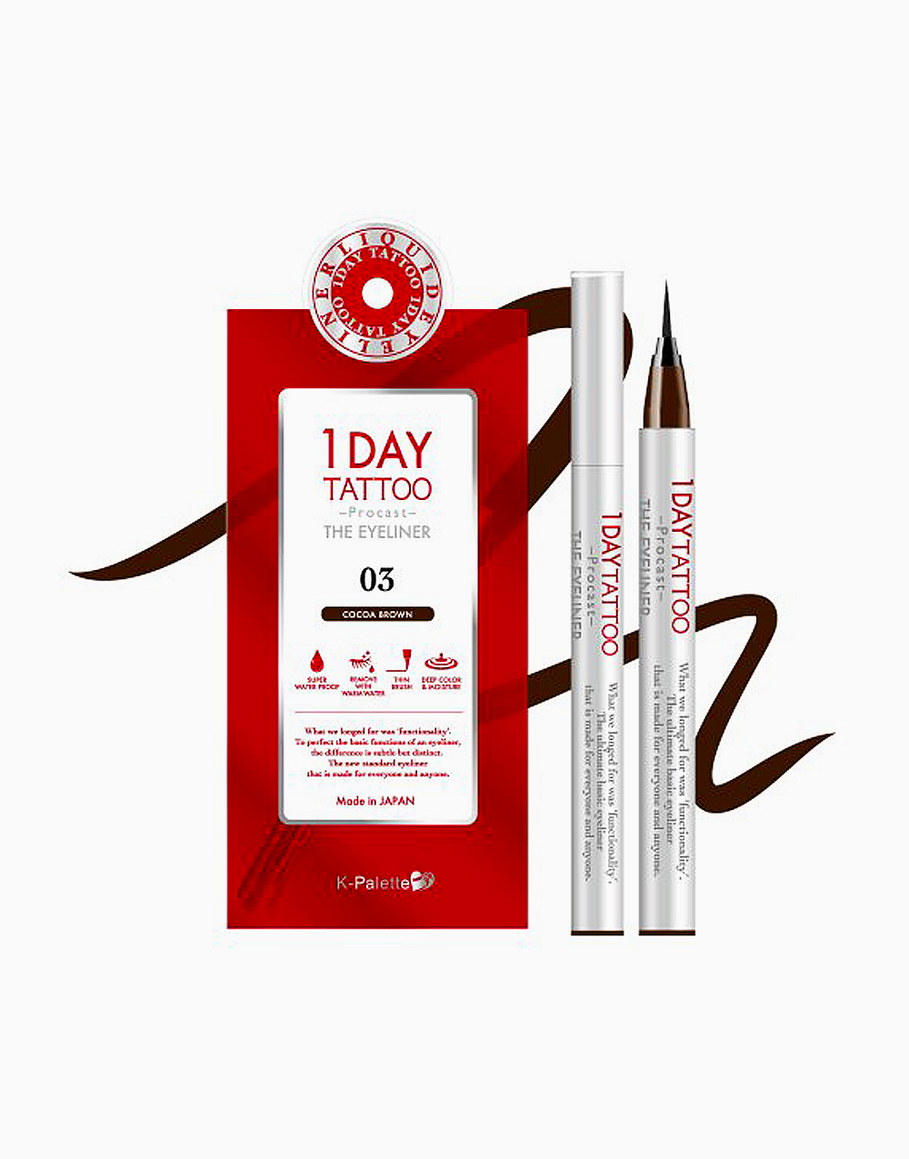 1Day Tattoo Procast the Eyeliner by K-Palette | Cocoa Brown 03