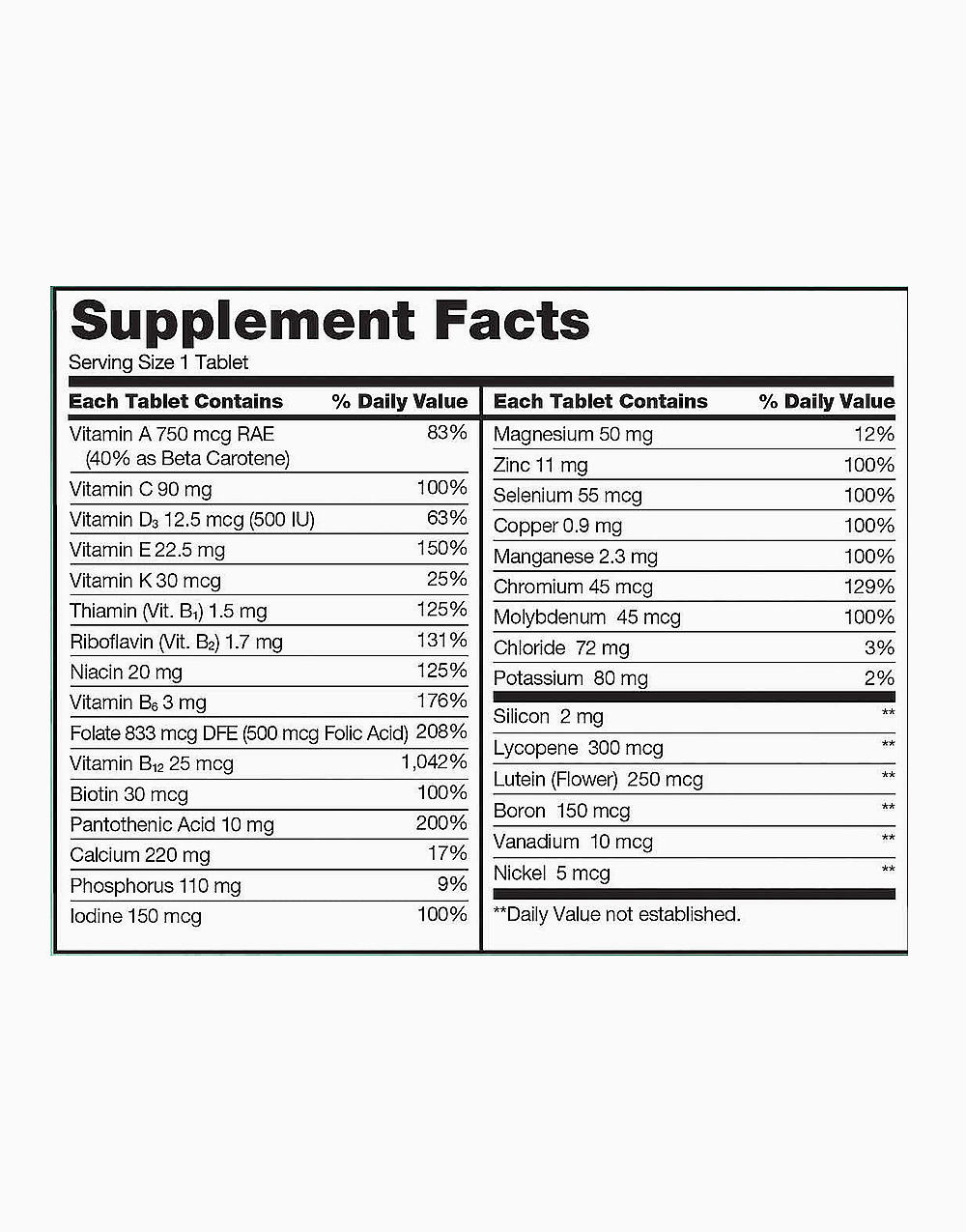 Signature Adult 50+ Mature Multi Vitamins & Minerals (400 Tablets) by Kirkland