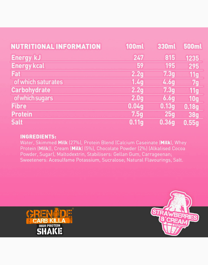 Carb Killa Protein Shake in Strawberries and Cream (330ml) by Grenade