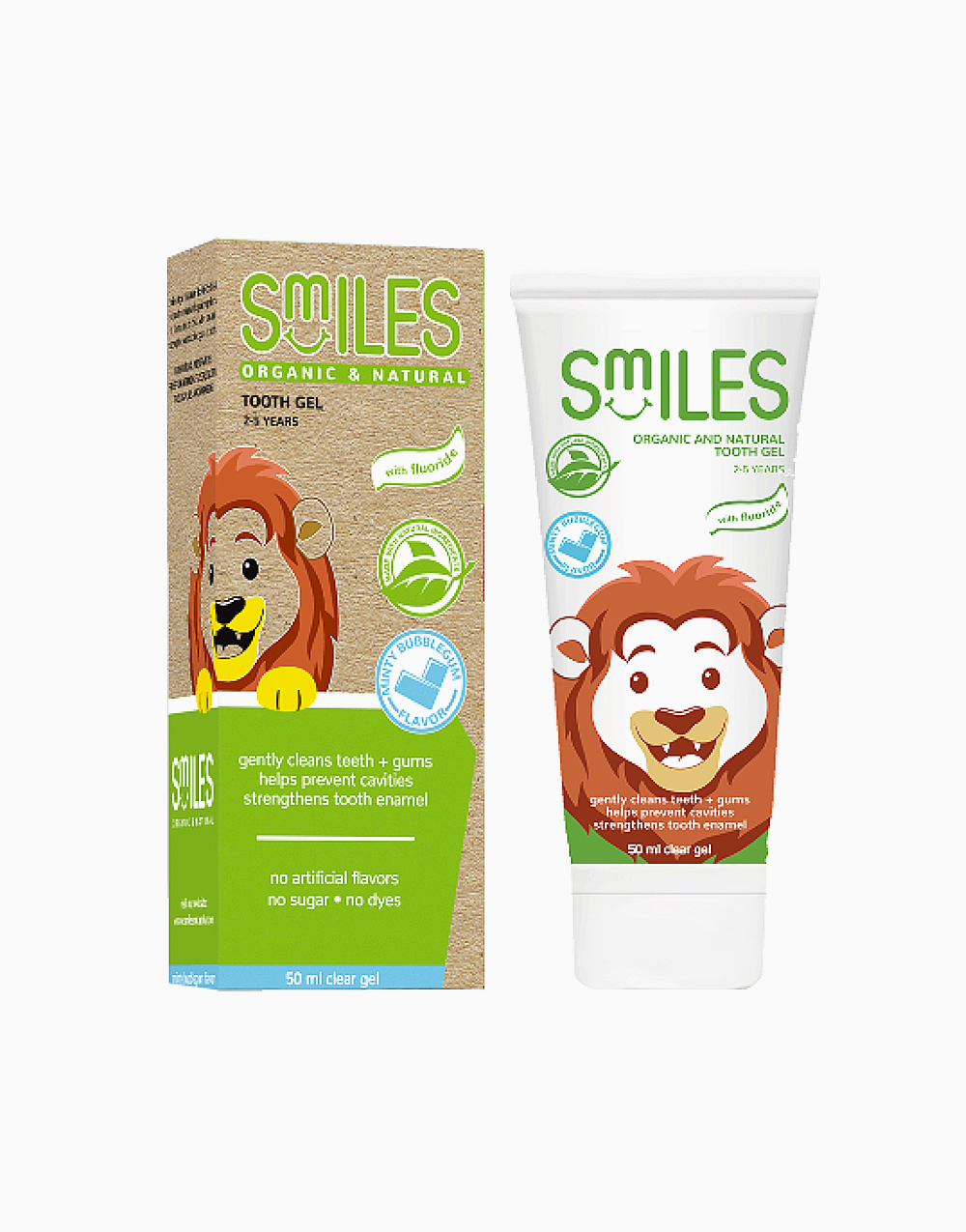 Organic Toothgel Minty Bubblegum Flavor with Flouride for 2 to 5 Yrs. Old (50ml) by Smiles