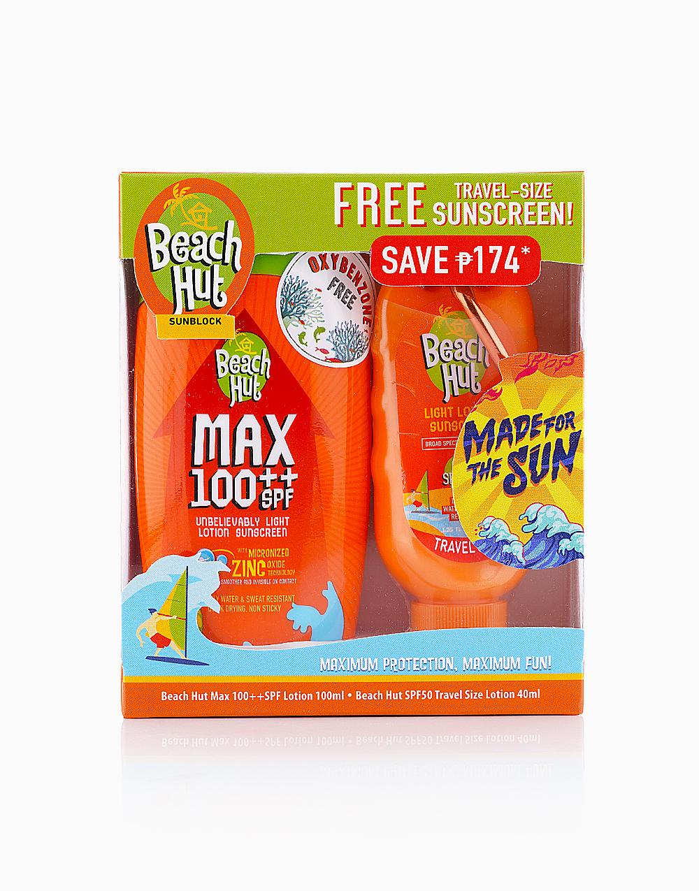 Beach Hut Max 100 Lotion (100ml) + Free SPF50 (40ml) with Carabiner by Beach Hut