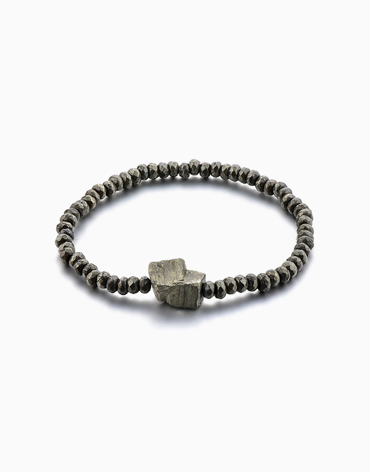 Infinite Abundance Pyrite Crystal Bracelet for Men by The Calm Chakra | Medium