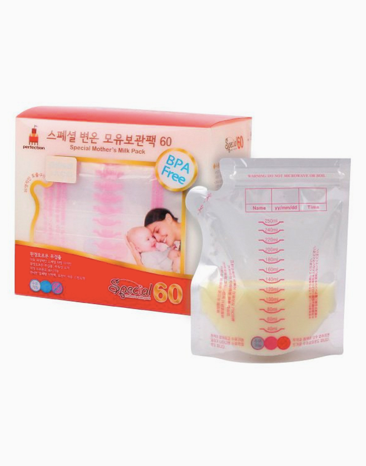 2-Way Breast Milk Bag with Temp Detection 250ml / 60 Pcs. (Special Mother's Milk Pack) by Perfection Baby