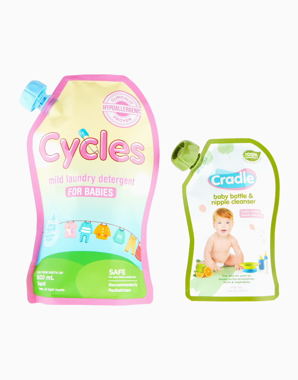 Mild Laundry Detergent Liquid for Babies (800ml) + Cradle Natural Bottle and Nipple Cleanser (200ml) by Cycles