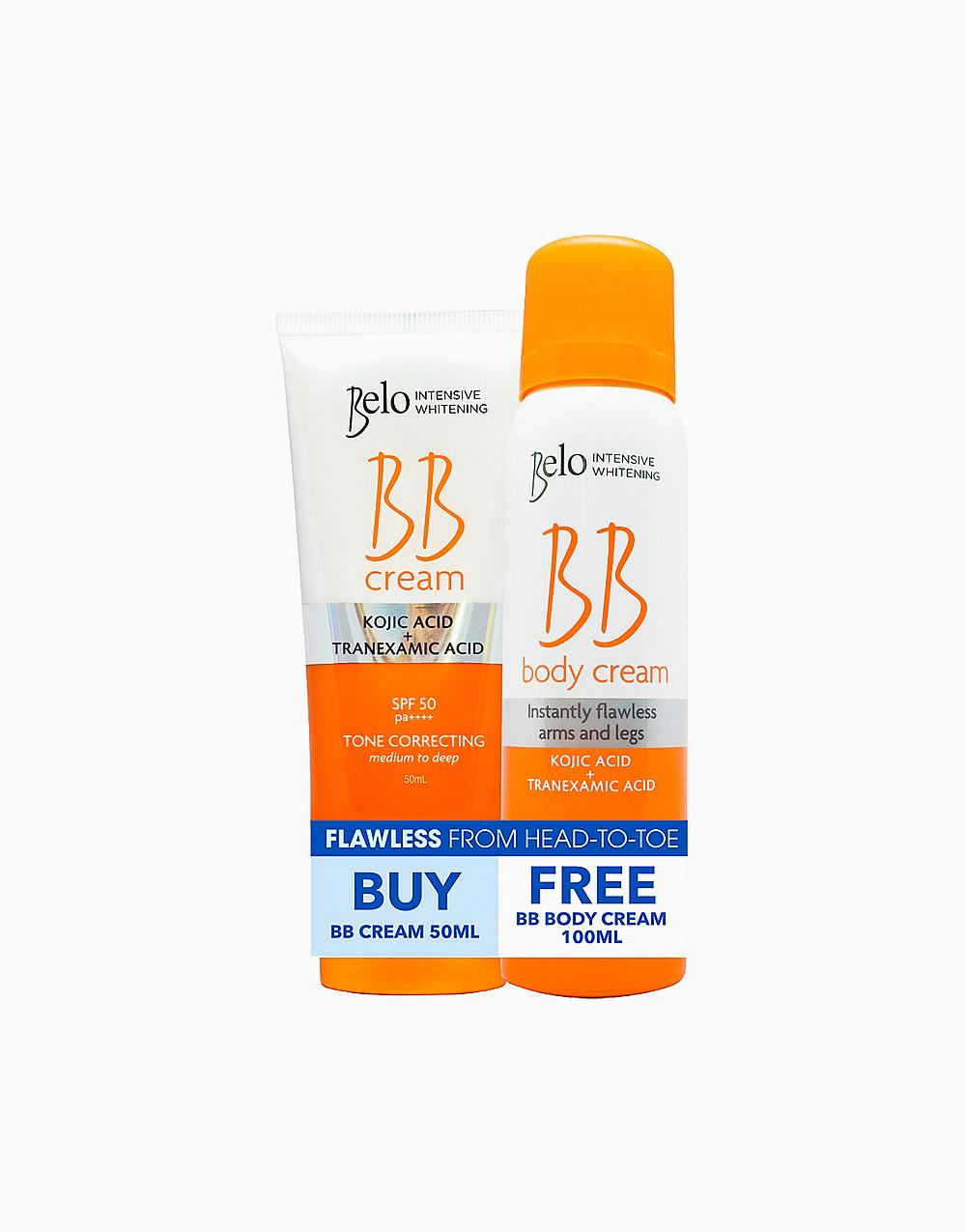 Belo Intensive Whitening BB Cream SPF50 (50ml) + FREE Kojic BB Body Spray (100ml) by Belo