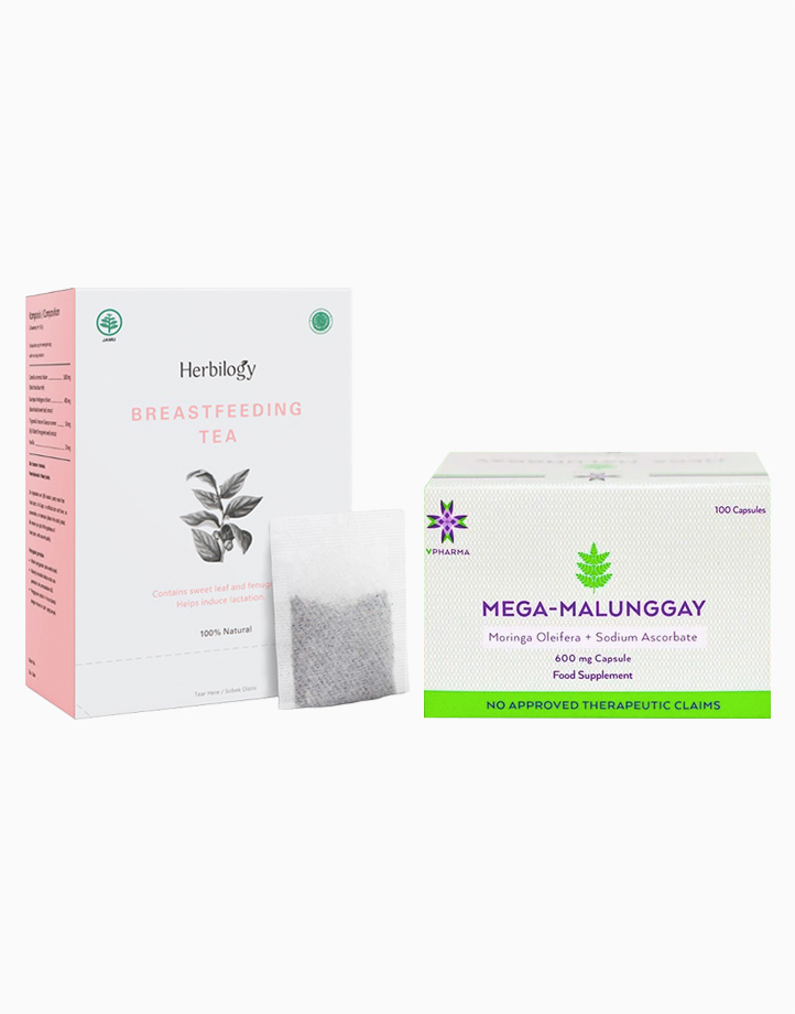 Mega-Malunggay (100s) + Herbilogy Breastfeeding Tea (20 Teabags) by VPharma