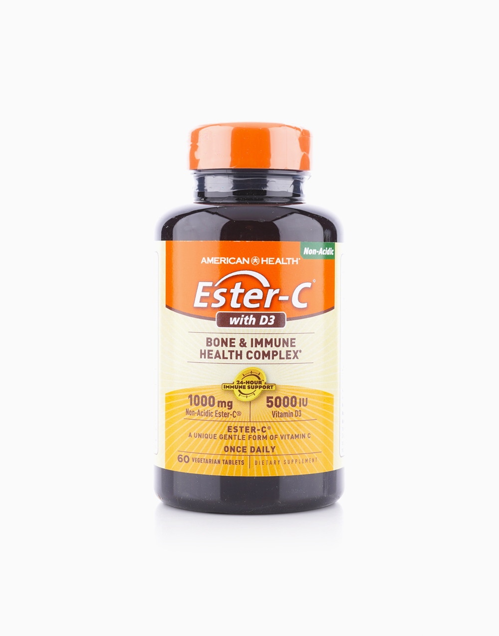 Ester-C with D3 - Bone and Immune Health Complex (1,000mg / 5,000IU, 60 Vegetarian Tablets) by American Health