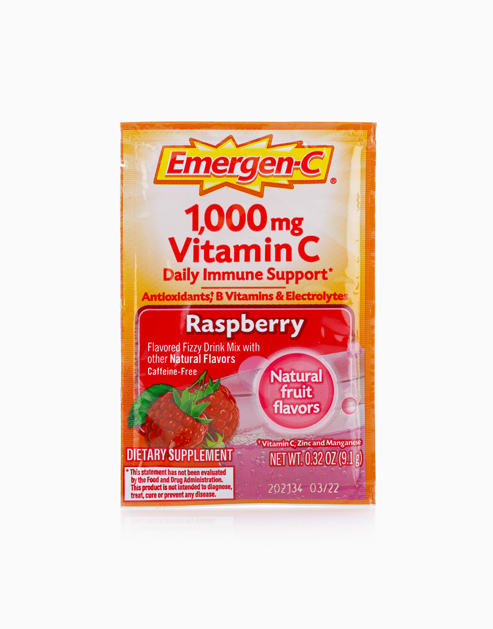 Raspberry Flavor Dietary Supplement Fizzy Drink Mix with 1000mg Vitamin C (1 Sachet) by Emergen-C