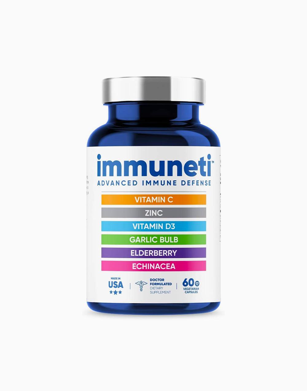 Immuneti Advanced 6-in-1 Immune Defense with Vitamin C, Zinc, Vitamin D3, Garlic Bulb, Elderberry, Echinacea 60 Vegetarian Capsules by Immuneti