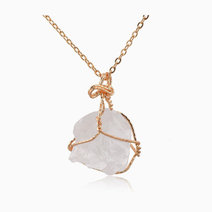 Raw Clear Quartz Gemstone Pendant with Necklace (Oversized) by Stones for the Soul