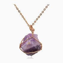 Raw Amethyst Gemstone Pendant with Necklace (Oversized) by Stones for the Soul