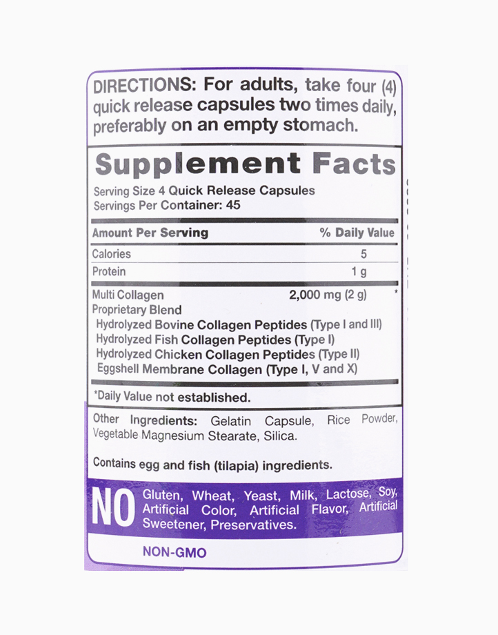 Multi Collagen Protein (Types I, II, III, V, X) 180 Capsules by Piping Rock