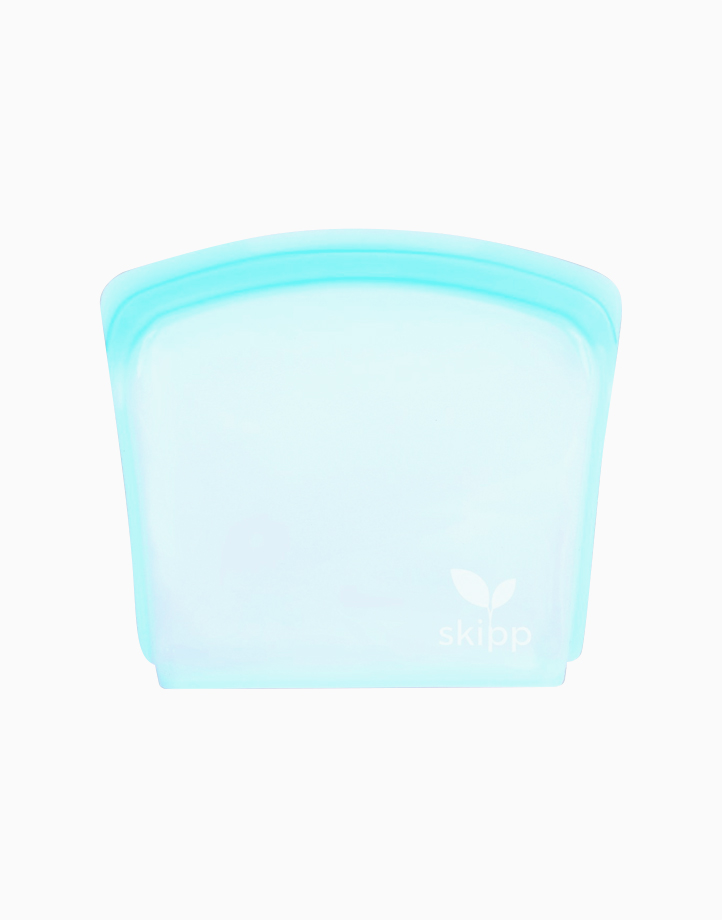 Reusable Silicone Bag in Sandwich Size (800ml) - Blue by Skipp