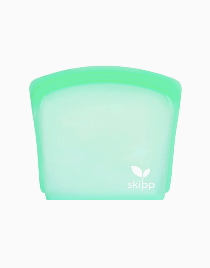 Reusable Silicone Bag in Sandwich Size (800ml) - Green by Skipp