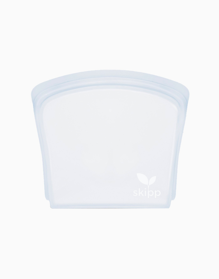 Reusable Silicone Bag in Sandwich Size (800ml) - Clear by Skipp