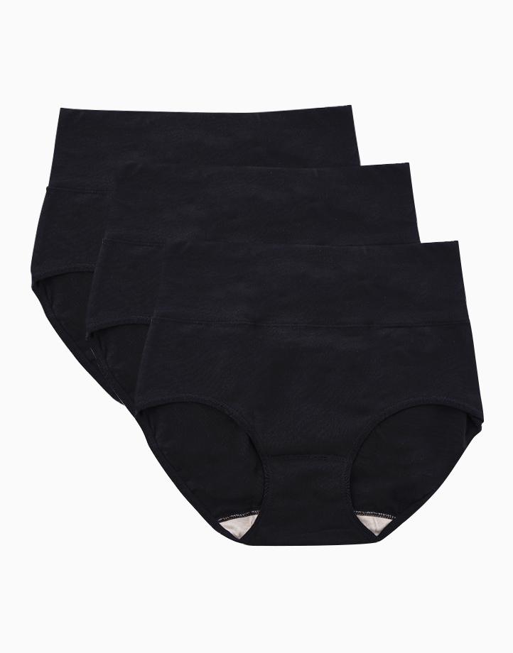 Belly Bikinis in Super Black (Set of 3 High Rise Control Panties) by Jellyfit | Large