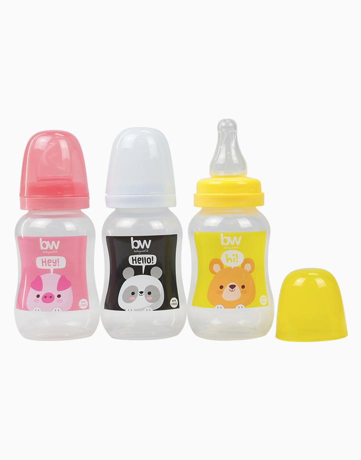 BW Feeding Bottle 4oz Shaped 3's (018-3) by BabyWorld PH | Girl Set