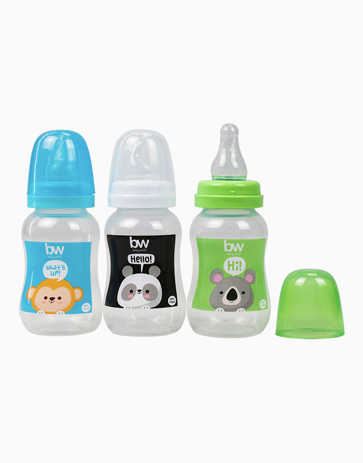 BW Feeding Bottle 4oz Shaped 3's (018-3) by BabyWorld PH | Boy Set