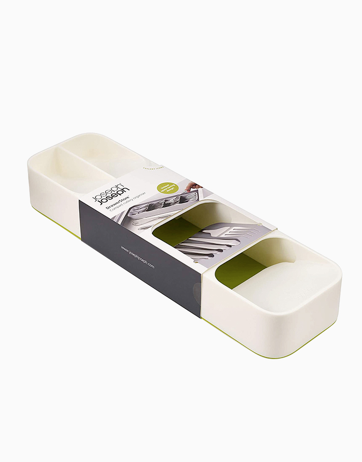 DrawerStore Compact Cutlery Organizer (White/Green) by Joseph Joseph