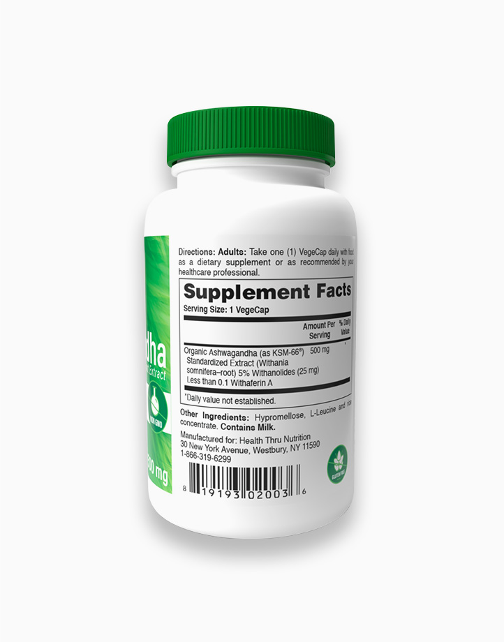 Ashwagandha KSM-66 (NON-GMO, 500mg x 90 Vegecaps) by Health Thru Nutrition