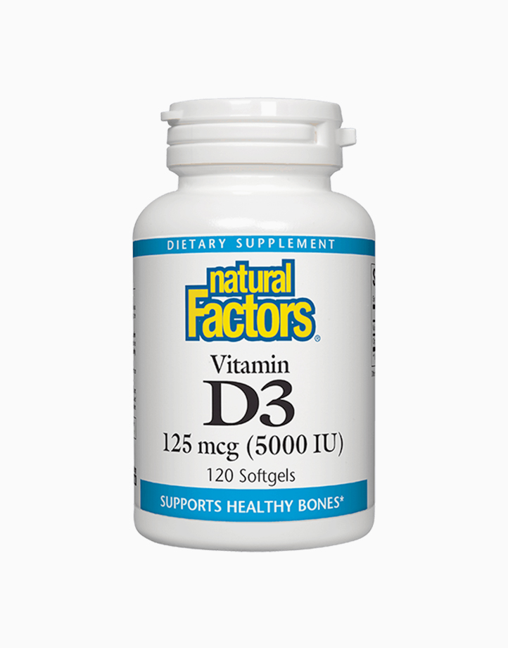 Vitamin D3 (125mcg, 5000IU, 120 Softgels) by Natural Factors