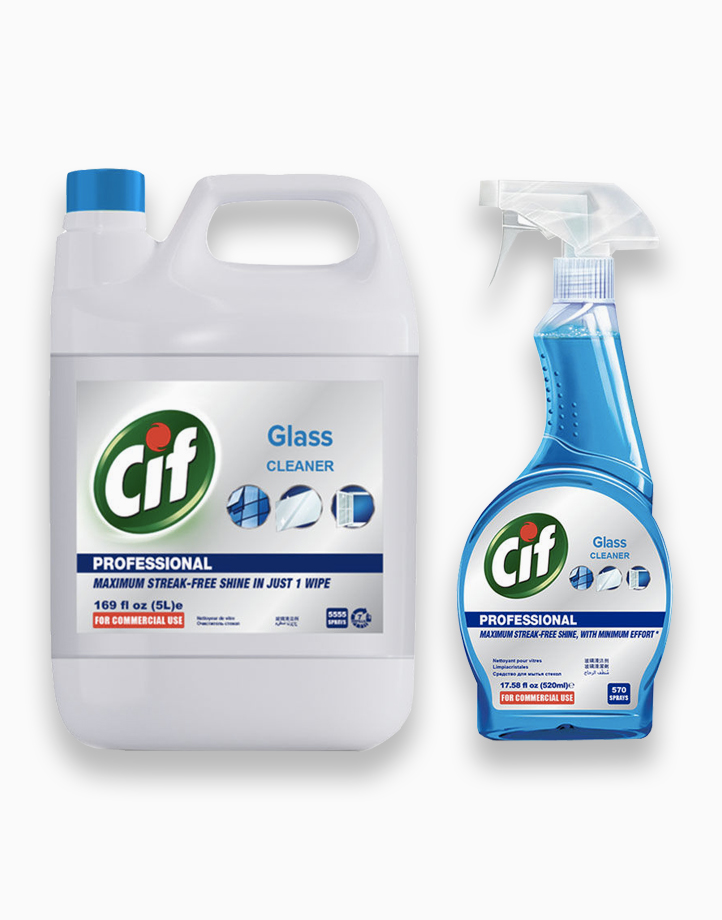 Cif Professional Glass Cleaner Multipurpose Bundle (5L + 520ml) by Cif