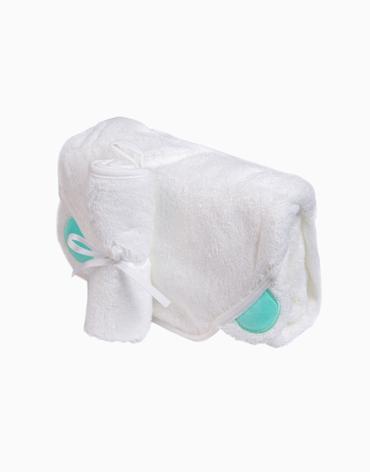 Bamboo Hooded Towel & Washcloth Set - White Bear by Nuborn Baby Essentials