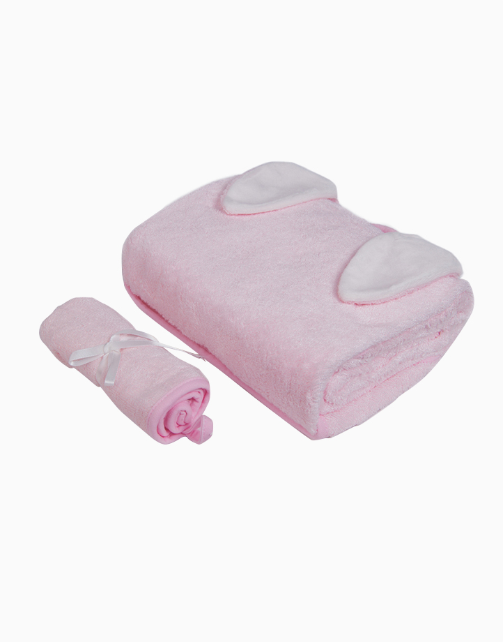 Bamboo Hooded Towel & Washcloth Set - Pink Bunny by Nuborn Baby Essentials