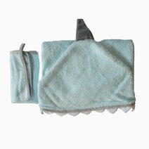 Nuborn baby essentials bamboo hooded towel washcloth set blue shark 2