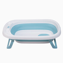 1 nuborn baby essentials fold a tub with bath support net blue