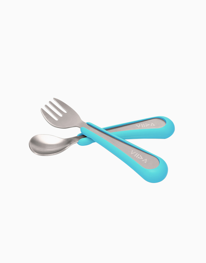 Souffle Spoon and Fork Small by VIIDA   Baby Blue