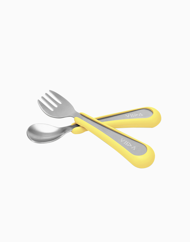Souffle Spoon and Fork Small by VIIDA   Lemon Yellow