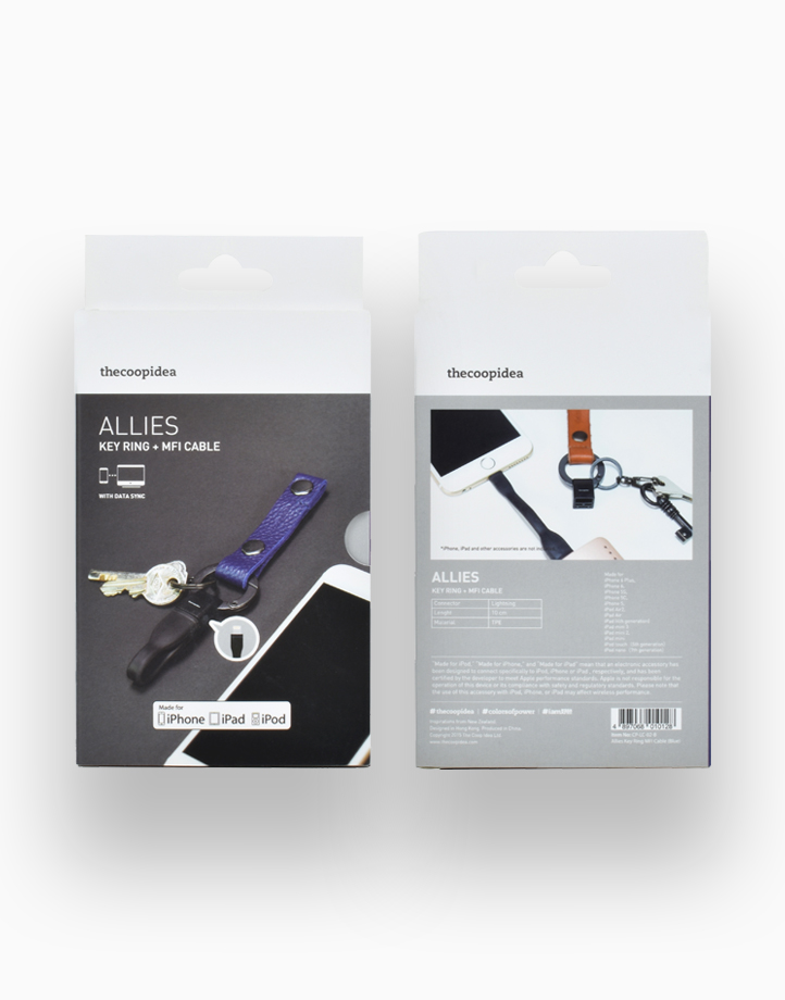 Allies Keyring with Mini MFI iPhone Cable by thecoopidea   Leather Blue