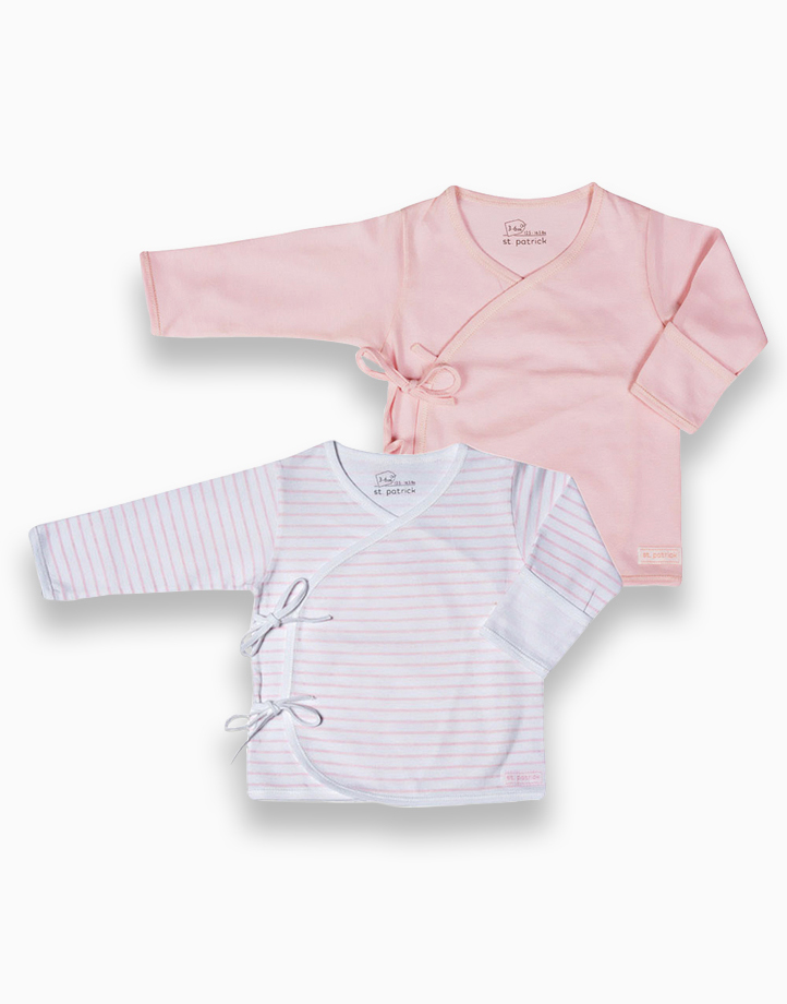 Tie-Side Long Sleeves by St. Patrick Baby | Powder Pink and Pink Stripes