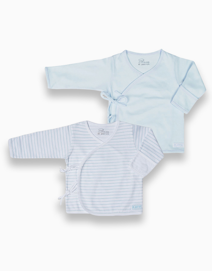 Tie-Side Long Sleeves by St. Patrick Baby | Powder Blue and Blue Stripes