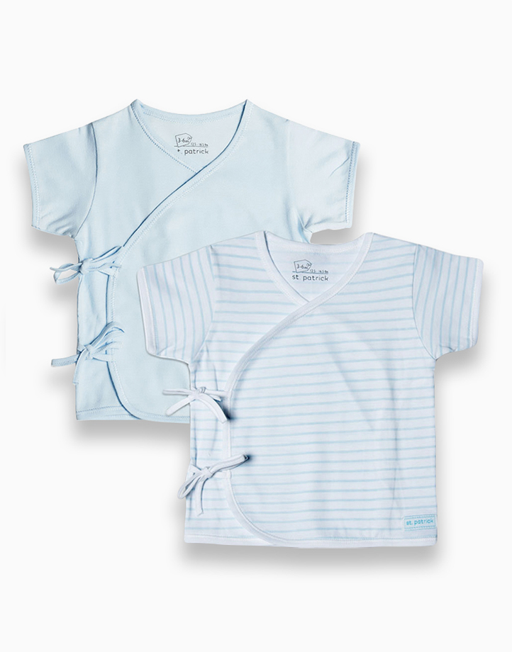 Tie-Side Shirt Short Sleeves by St. Patrick Baby | Powder Blue and Blue Stripes