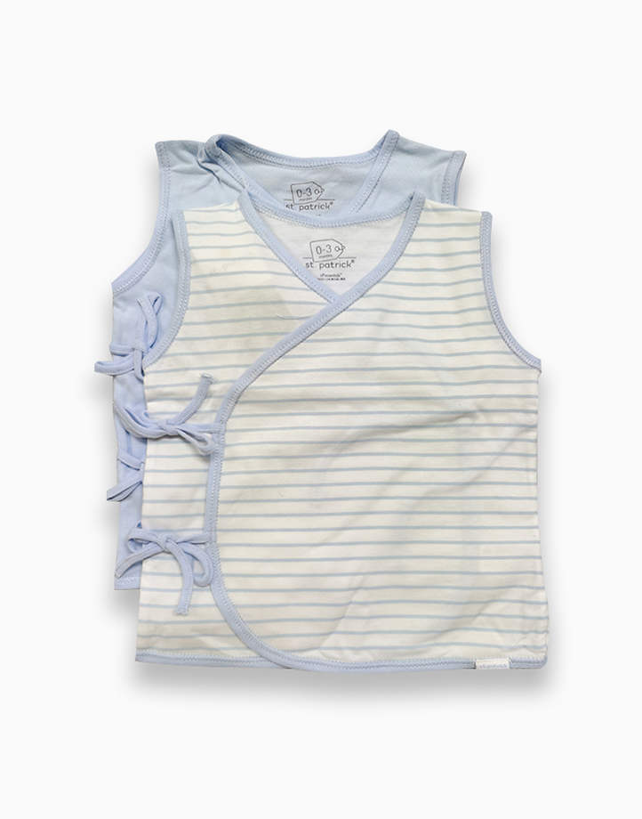 Tie-Side Shirt Sleeveless by St. Patrick Baby | Powder Blue and Blue Stripes