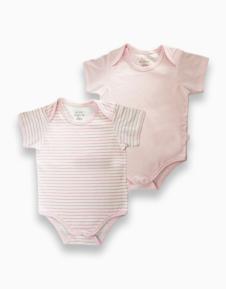 Overlap Romper by St. Patrick Baby | Pink and Pink Stripes