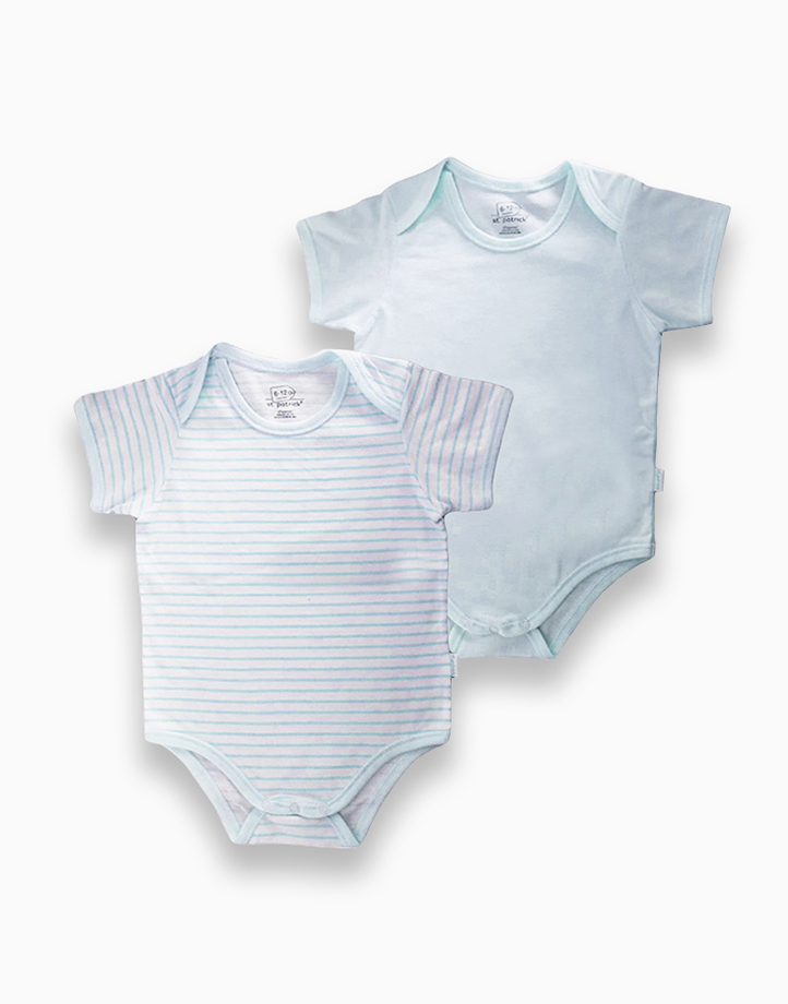 Overlap Romper by St. Patrick Baby | Blue and Blue Stripes