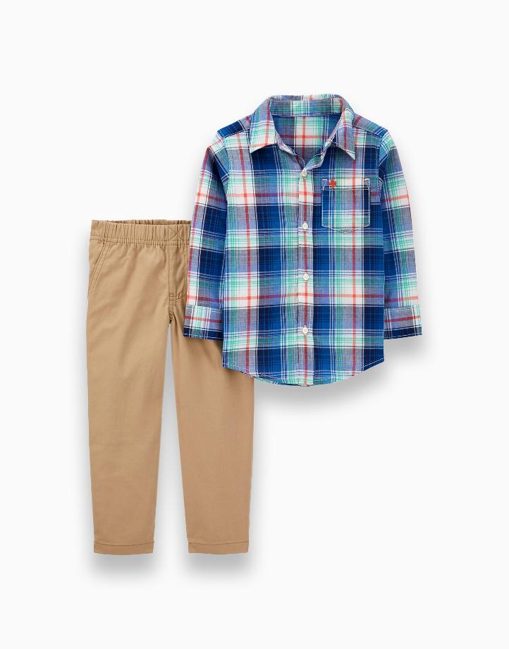 2-Piece Plaid Button-Front Top & Canvas Pant Set - 1H359610 by Carter's | NB