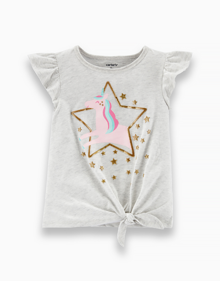 Girl Glitter Unicorn Tie-Front Jersey Tee - 1H825310 by Carter's   9M