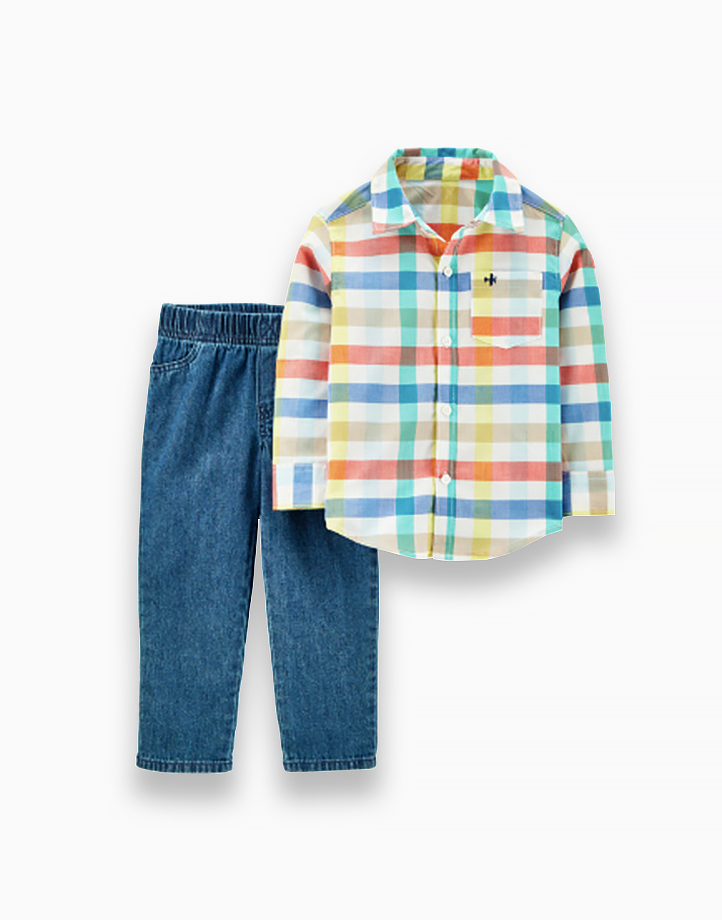 Baby 2-Piece Plaid Button-Front Top & Twill Denim Pant Set - 1H358410 by Carter's   NB