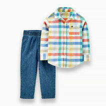 Carter s baby 2 piece plaid button front top   twill denim pant set   1h358410 %283%29